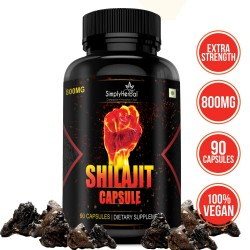 Simply Herbal Shilajit Gold (Increase Energy, Stamina, Testosterone, Virility & Control Premature Ejaculation) - 800mg - 90 Capsules (1 Bottle)