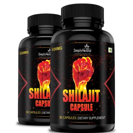 Shilajit Gold (Increase Energy, Stamina, Testosterone, Virility & Control Premature Ejaculation) - 800mg - 90 Capsules (2 Bottles)