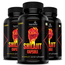 Simply Herbal Shilajit Gold (Increase Energy, Vitality, Stamina and Performance) - 800mg - 90 Capsules (3 Bottles)