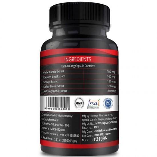 Testosterone Booster (Ashwagandha, Safed Musli, Shilajit, Kaunch Beej & Vidarikanda Extract) - 800mg - 60 Capsules (2 Bottles)