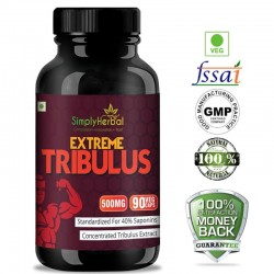 Simply Herbal Extreme Tribulus Terrestris (Increase Energy, Strength, Performance, Vitality, Testosterone & Muscle Mass) - 500mg - 90 Capsules (1 Bottle)