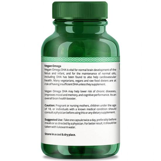 Vegan Omega With DHA (Barain Health, Heart Health, Eye & Skin Care) - 800mg - 60 Capsules (2 Bottles)