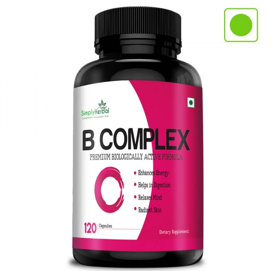 Vitamin B Complex (Help In Energy, Digestion, Relaxes Mind & Radiant Skin ) - 120 Capsules (1 Bottle)