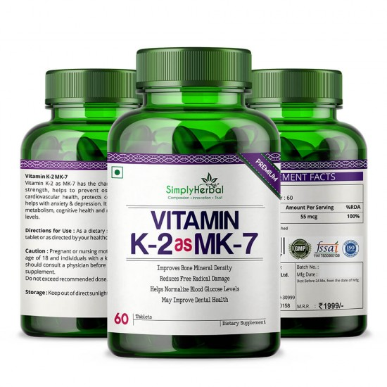 Simply Herbal Premium Vitamin K2 as MK7 For Bone and Dental Health Supplements - 60 Tablets (1 Bottle)