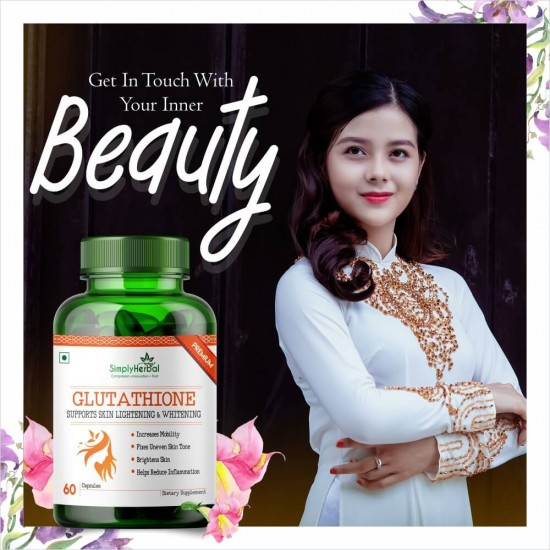 Simply Herbal Glutathione Skin glowing Supplement Capsules - 1000mg - 60 Capsules (1 Bottle)