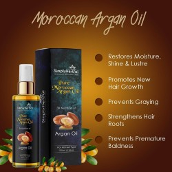Simply Herbal Pure Morrocan Argan Hair Oil (3x Nutrition with Almond, Sesame, Coconut Oil) for Silky, Shiny and Healthy Hair - 100ml (1 Bottle)