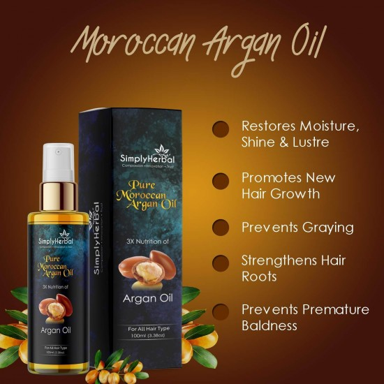 Pure Morrocan Argan Hair Oil (3x Nutrition with Almond, Sesame, Coconut Oil) for Silky, Shiny and Healthy Hair - 100ml (1 Bottles)