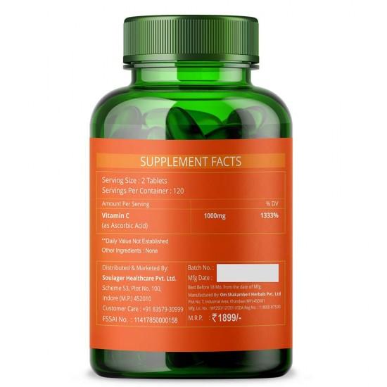 Vitamin C 1000mg High-Potency - 120 Tablets (3 Bottles)