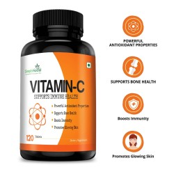 Vitamin C 1000mg High-Potency (Bone Health, Boost Immunity, Glowing Skin, Powerful Antioxidant) - 120 Chewable Tablets (1 Bottle)
