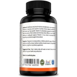Vitamin C 1000mg High-Potency (Bone Health, Boost Immunity, Glowing Skin, Powerful Antioxidant) - 120 Chewable Tablets (2 Bottles)