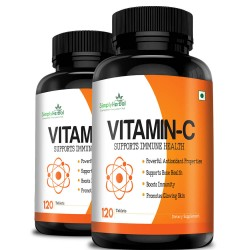 Vitamin C 1000mg High-Potency (Bone Health, Boost Immunity, Glowing Skin, Powerful Antioxidant) - 120 Chewable Tablets (2 Bottles)