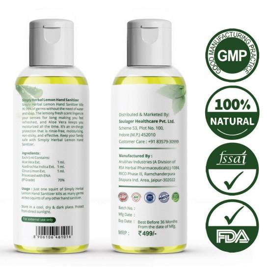 Hand Sanitizer With Lemon, Neem & Aloevera 100ml